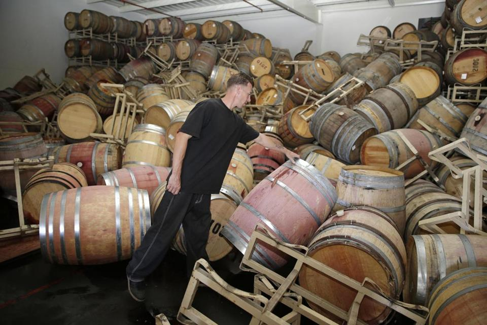 Barrels of Cabernet Sauvignon were toppled at the B.R. Cohn Winery in Napa, Calif.